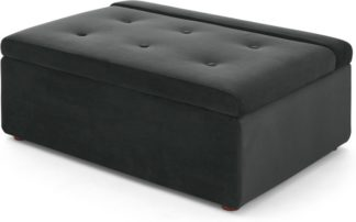 An Image of Ilma Ottoman Single Sofa Bed, Midnight Grey Velvet