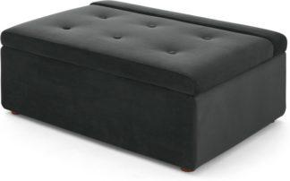 An Image of Ilma Ottoman Single Sofa Bed, Midnight Grey Velvet