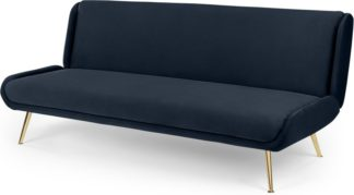 An Image of Moby Click Clack Sofa Bed, Sapphire Blue Velvet with Brass Leg