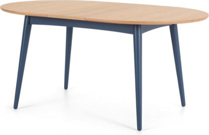 An Image of Deauville 4-6 Seat Oval Extending Dining Table, Oak and Slate Blue