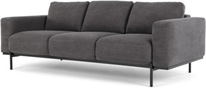 An Image of Jarrod 3 Seater Sofa, Washed Dark Grey Cotton