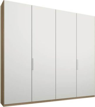 An Image of Caren 4 door 200cm Hinged Wardrobe, Oak Frame, Matt White Doors, Standard Interior