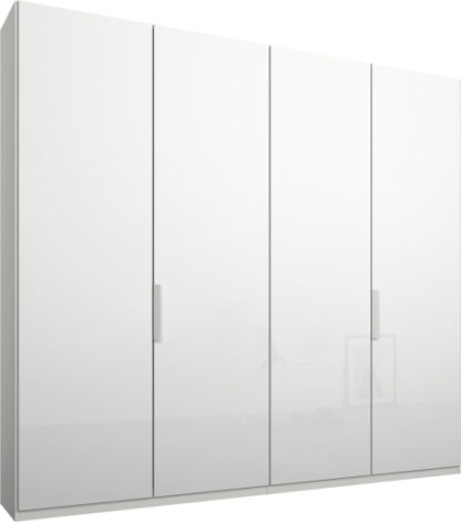 An Image of Caren 4 door 200cm Hinged Wardrobe, White Frame, White Glass Doors, Standard Interior
