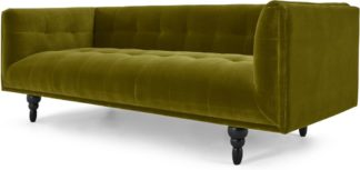 An Image of Connor 3 Seater Sofa, Olive Cotton Velvet