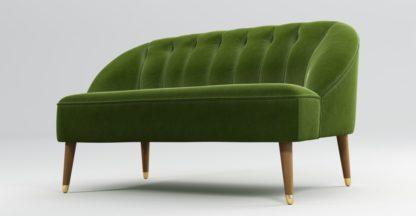 An Image of Custom MADE Margot 2 Seater Sofa, Spruce Green Cotton Velvet with Light Wood Brass Leg