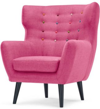 An Image of Kubrick Wing Back Chair, Candy Pink With Rainbow Buttons