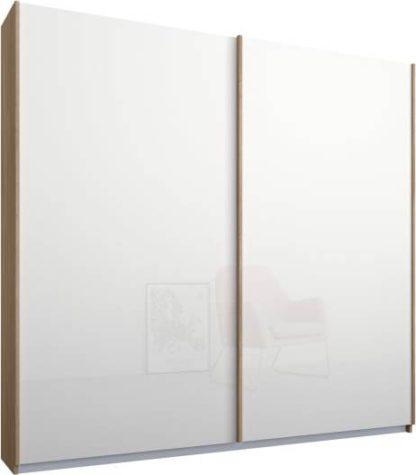 An Image of Malix 2 door 181cm Sliding Wardrobe, Oak frame,White Glass doors, Standard Interior