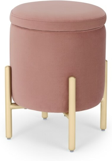 An Image of Asare Round Storage Stool, Blush Pink Velvet