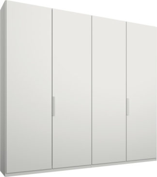 An Image of Caren 4 door 200cm Hinged Wardrobe, White Frame, Matt White Doors, Premium Interior
