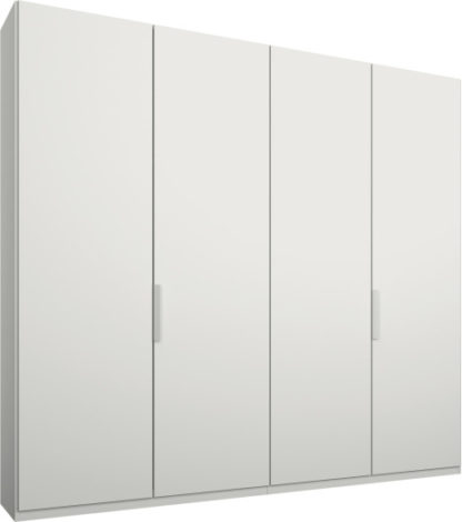 An Image of Caren 4 door 200cm Hinged Wardrobe, White Frame, Matt White Doors, Standard Interior