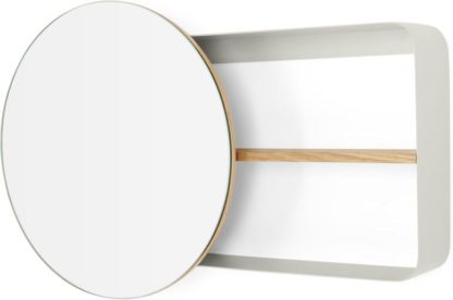 An Image of Joris Metal & Wood Round Mirror and Shelf Unit, Off White