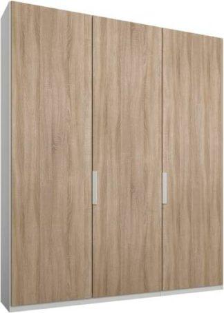 An Image of Caren 3 door 150cm Hinged Wardrobe, White Frame, Oak Doors, Classic Interior