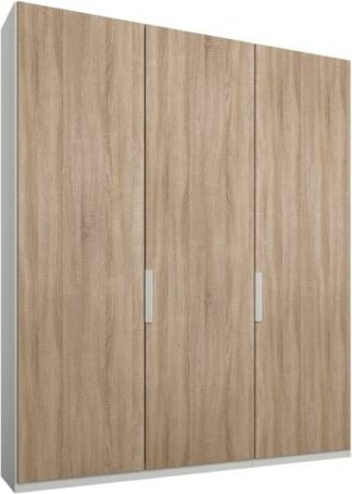 An Image of Caren 3 door 150cm Hinged Wardrobe, White Frame, Oak Doors, Premium Interior