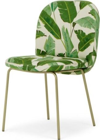 An Image of Safia Dining Chair, Leaf Print and Brass