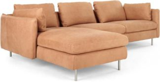 An Image of Vento 3 Seater Left Hand Facing Chaise End Corner Sofa, Tan Leather