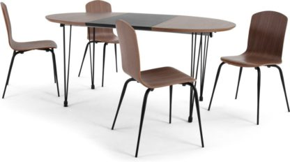 An Image of Ryland Extending Dining Table and 4 chairs Set, Walnut and Black