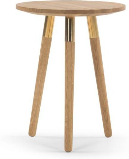 An Image of Range Side Table, Solid Oak and Brass
