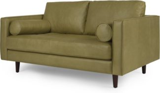 An Image of Scott Large 2 Seater Sofa, Chalk Olive Premium Leather