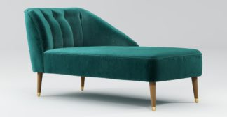 An Image of Custom MADE Margot Right Hand Facing Chaise, Peacock Blue Velvet, Light Wood Brass Leg