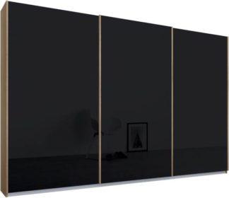 An Image of Malix 3 door 270cm Sliding Wardrobe, Oak frame,Basalt Grey Glass doors, Standard Interior