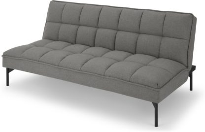 An Image of Hallie Click Clack Sofa Bed, Manhattan Grey with Black Legs