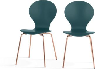 An Image of Set of 2 Kitsch Dining Chairs, Teal and Copper