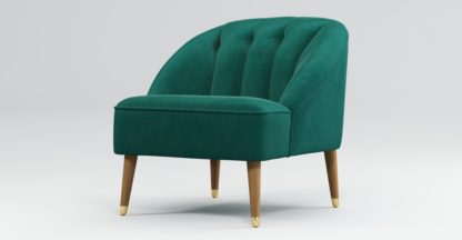 An Image of Custom MADE Margot Armchair, Teal Cotton Velvet, Light Wood Brass Leg