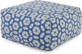 An Image of Trio Bean Bag Pouffe, Blue & Grey