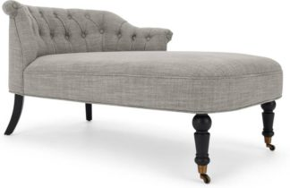 An Image of Bouji Right Hand Facing Chaise Longue, Grey Linen Mix