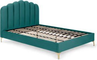An Image of Delia Double Bed, Seafoam Blue Velvet