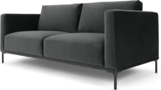 An Image of Milo Large 2 Seater Sofa, Midnight Grey Velvet