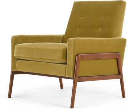 An Image of Cecil Accent Armchair, Cotton Velvet Gold