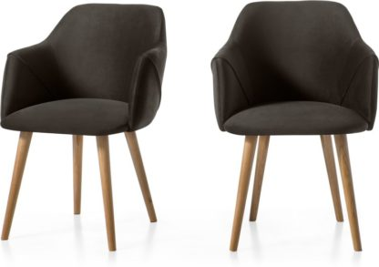 An Image of Set of 2 Lule Carver Chairs, Otter Grey Velvet and Oak