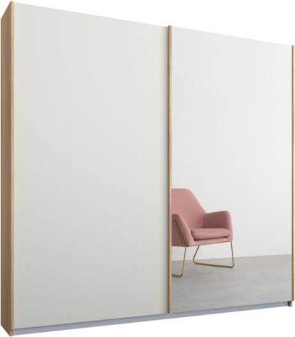 An Image of Malix 2 door 181cm Sliding Wardrobe, Oak frame,Matt White & Mirror doors, Standard Interior