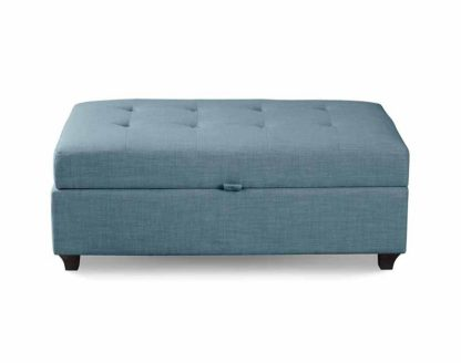 An Image of Leon Upholstered Ottoman - Wedgewood