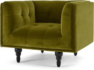 An Image of Connor Armchair, Olive Cotton Velvet