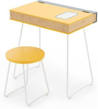 An Image of Book Desk and Stool Set, Yellow and White