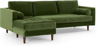 An Image of Scott 4 Seater Left Hand Facing Chaise End Corner Sofa, Grass Cotton Velvet