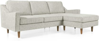 An Image of Dallas Right Hand Facing Chaise End Corner Sofa, Grey Basketweave