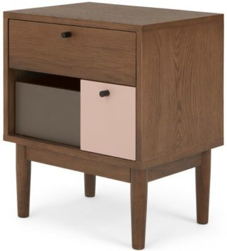 An Image of Campton Bedside, Dark Stain Oak & Pink