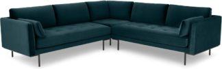 An Image of Harlow Corner Sofa, Steel Blue Velvet