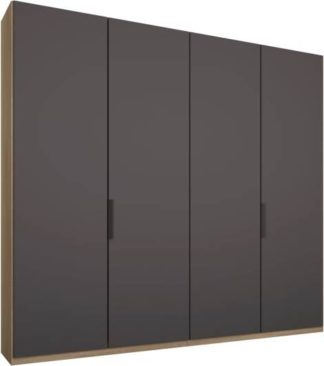 An Image of Caren 4 door 200cm Hinged Wardrobe, Oak Frame, Matt Graphite Grey Doors, Standard Interior
