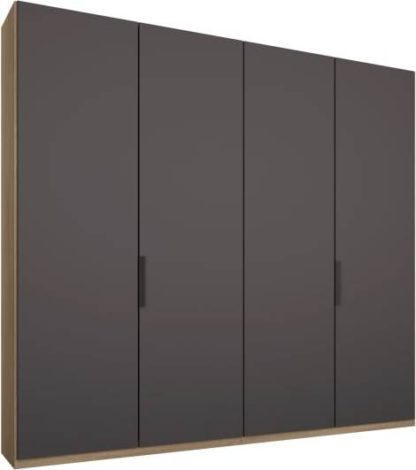An Image of Caren 4 door 200cm Hinged Wardrobe, Oak Frame, Matt Graphite Grey Doors, Standard Interior
