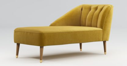 An Image of Custom MADE Margot Left Hand Facing Chaise, Antique Gold Velvet with Light Wood Brass Leg