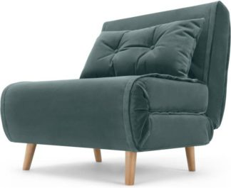 An Image of Haru Single Sofa Bed, Marine Green Velvet