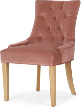 An Image of Flynn Scoop Back Chair, Blush Pink Velvet and Birch