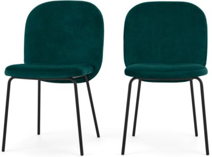 An Image of Set of 2 Safia Dining Chairs, Seafoam Blue velvet