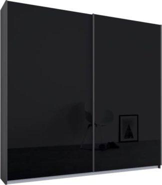 An Image of Malix 2 door 181cm Sliding Wardrobe, Graphite Grey frame,Basalt Grey Glass doors , Premium Interior