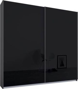An Image of Malix 2 door 181cm Sliding Wardrobe, Graphite Grey frame,Basalt Grey Glass doors, Standard Interior