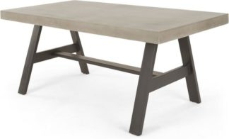 An Image of Edson Large Dining Table, Cement and Metal